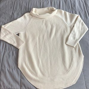 Athleta Merino Wool Cream Cowl Neck Sweater Sz m